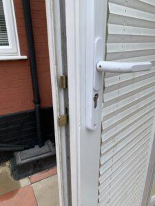 A door with a broken UPVC door mechanism in Ipswich Suffolk - Morgan Locksmiths